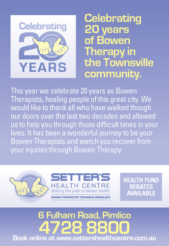 What is Bowen Therapy? Setter's Health Centre Celebrating 20 years of Bowen Therapy in the Townsville Community.
